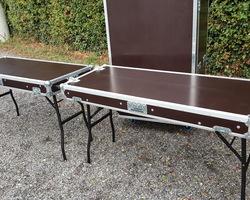 Flight case table double plateau lisse