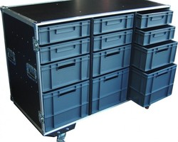 Flight case motorspsort tiroir, bac de rangement